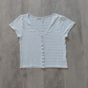 American Eagle Ribbed Snap Front Crop Top Med